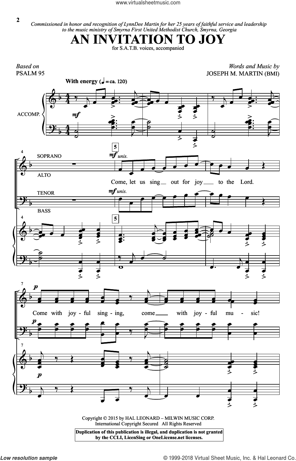 An Invitation To Joy sheet music for choir and piano (SATB) by Psalm 95 and Joseph M. Martin. Score Image Preview.