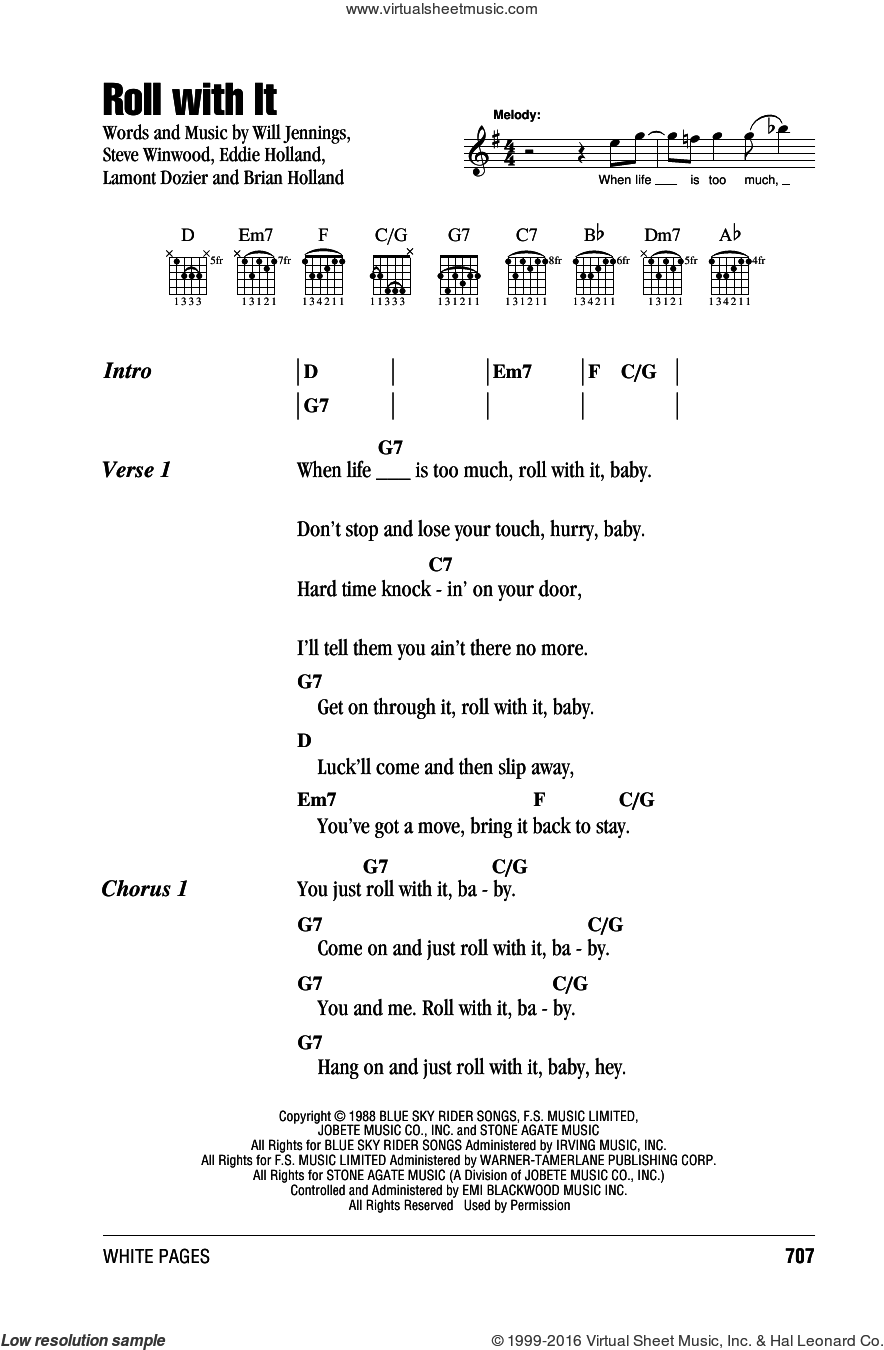Roll With It sheet music for guitar (chords) by Steve Winwood, Brian Holland, Eddie Holland, Lamont Dozier and Will Jennings. Score Image Preview.