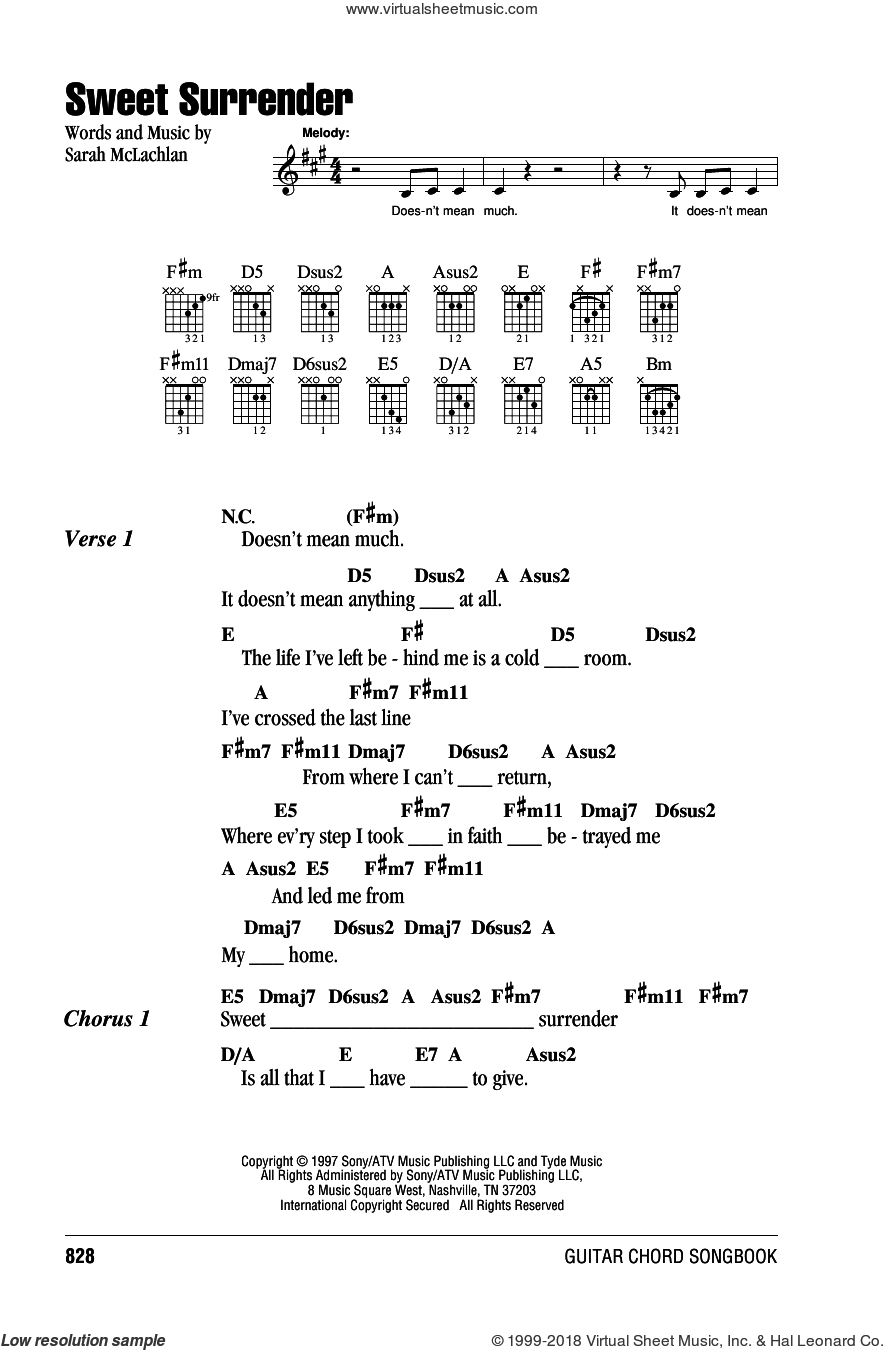 Mclachlan Sweet Surrender Sheet Music For Guitar Chords Pdf