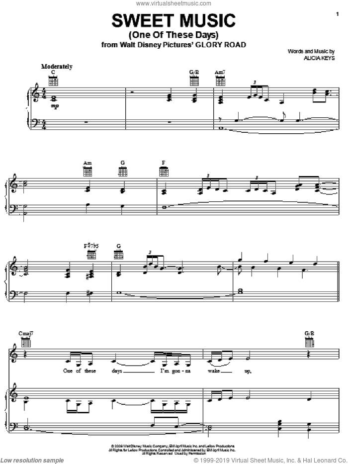 Sweet Music (One Of These Days) sheet music for voice, piano or guitar by Alicia Keys, intermediate. Score Image Preview.