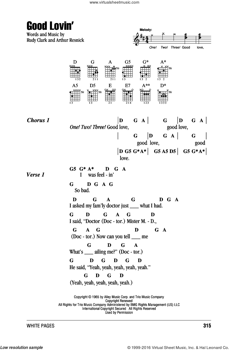 Good Lovin' sheet music for guitar (chords) by The Young Rascals, intermediate. Score Image Preview.