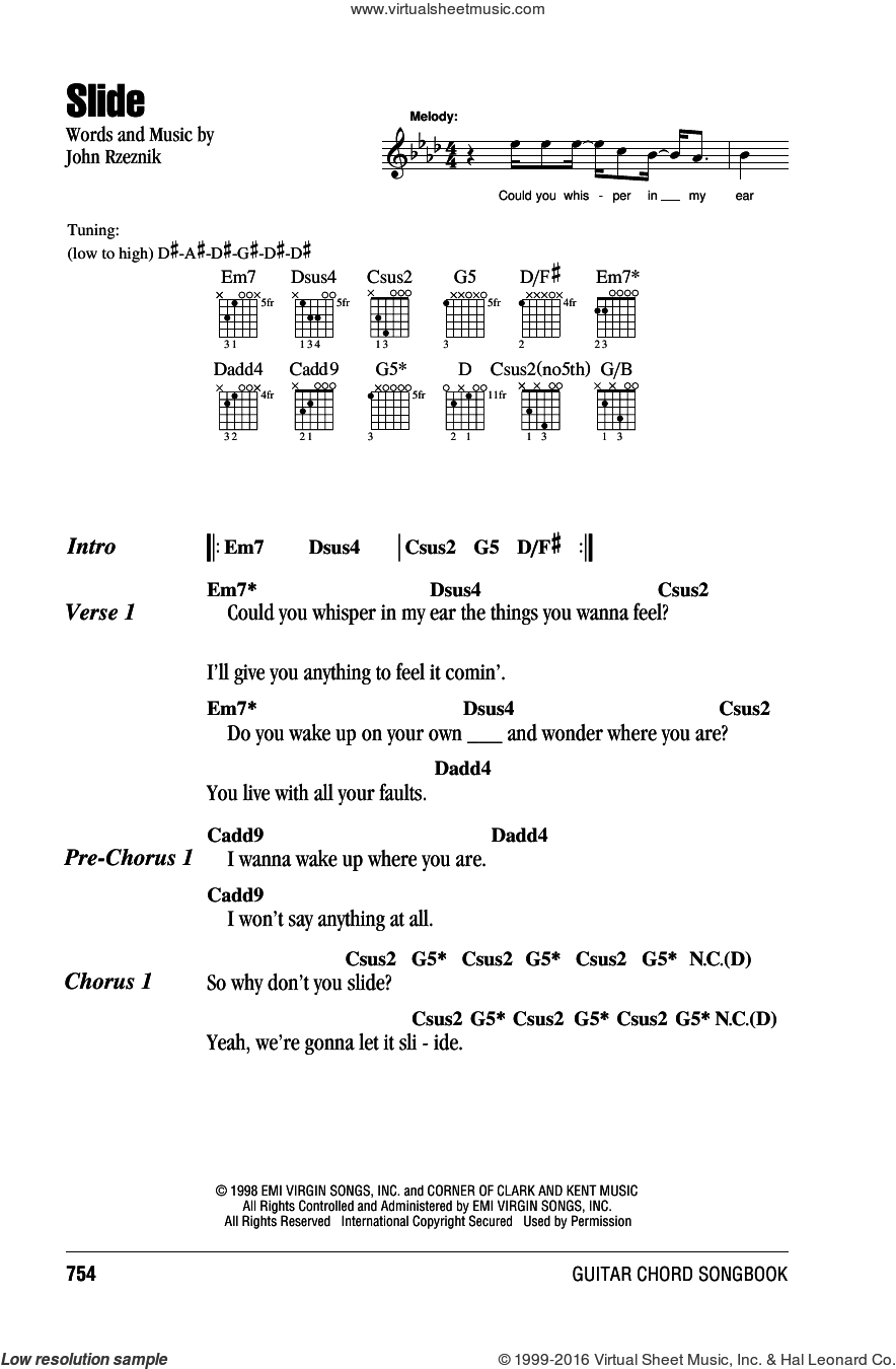 Slide sheet music for guitar (chords) by Goo Goo Dolls and John Rzeznik, intermediate. Score Image Preview.