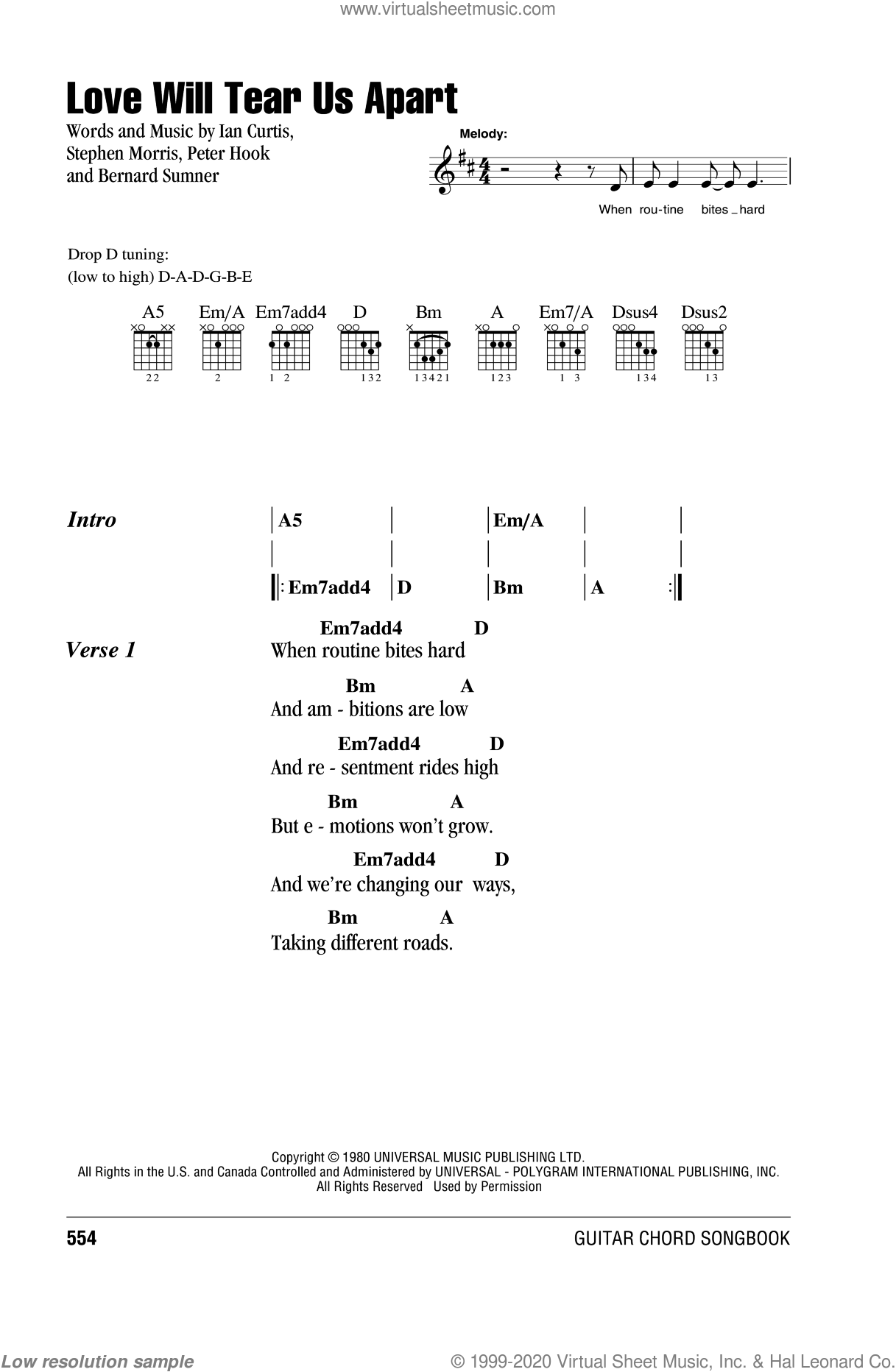Love Will Tear Us Apart sheet music for guitar (chords) by Stephen Morris, Bernard Sumner and Peter Hook. Score Image Preview.