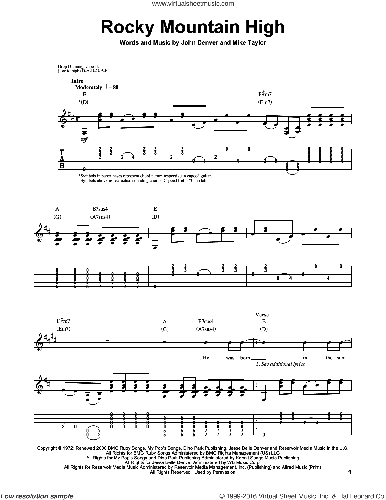 Rocky Mountain High sheet music for guitar (tablature, play-along) by Mike Taylor and John Denver. Score Image Preview.