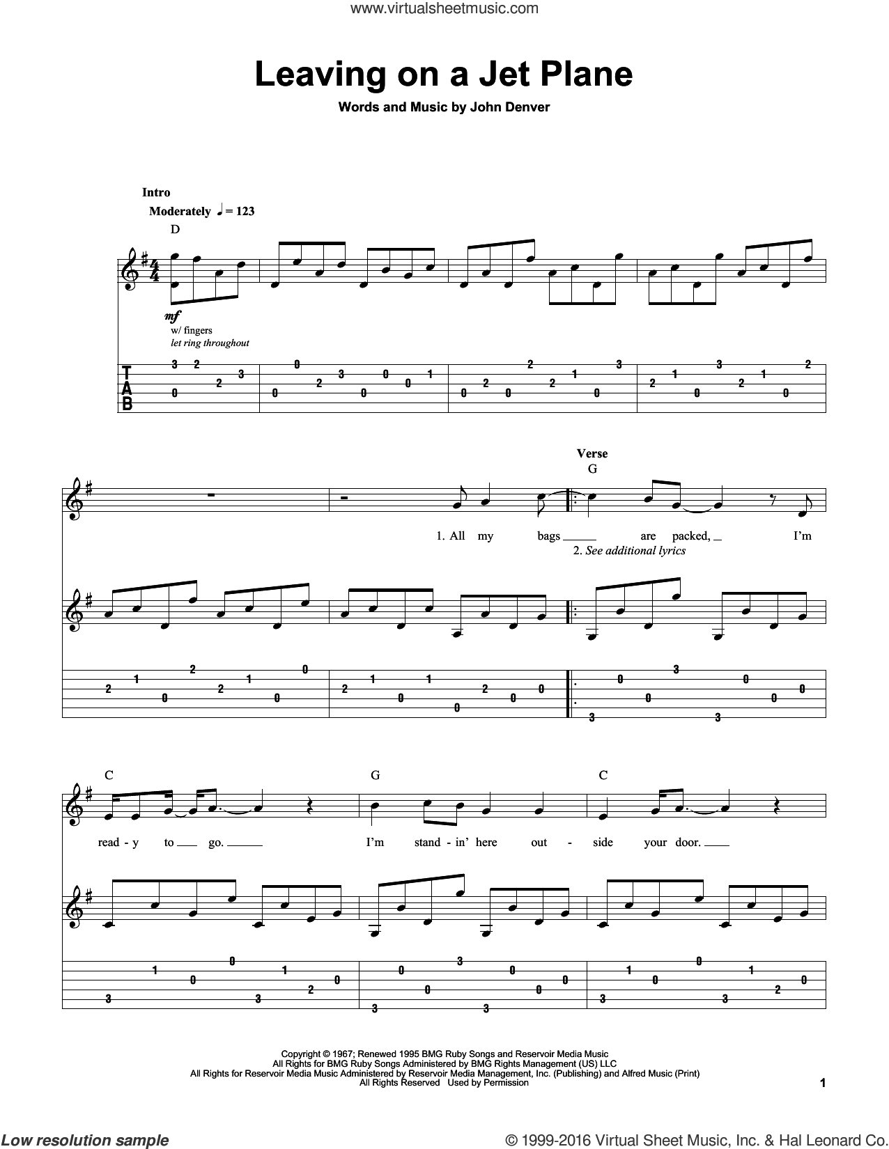 Leaving On A Jet Plane sheet music for guitar (tablature, play-along) by John Denver and Peter, Paul & Mary, intermediate