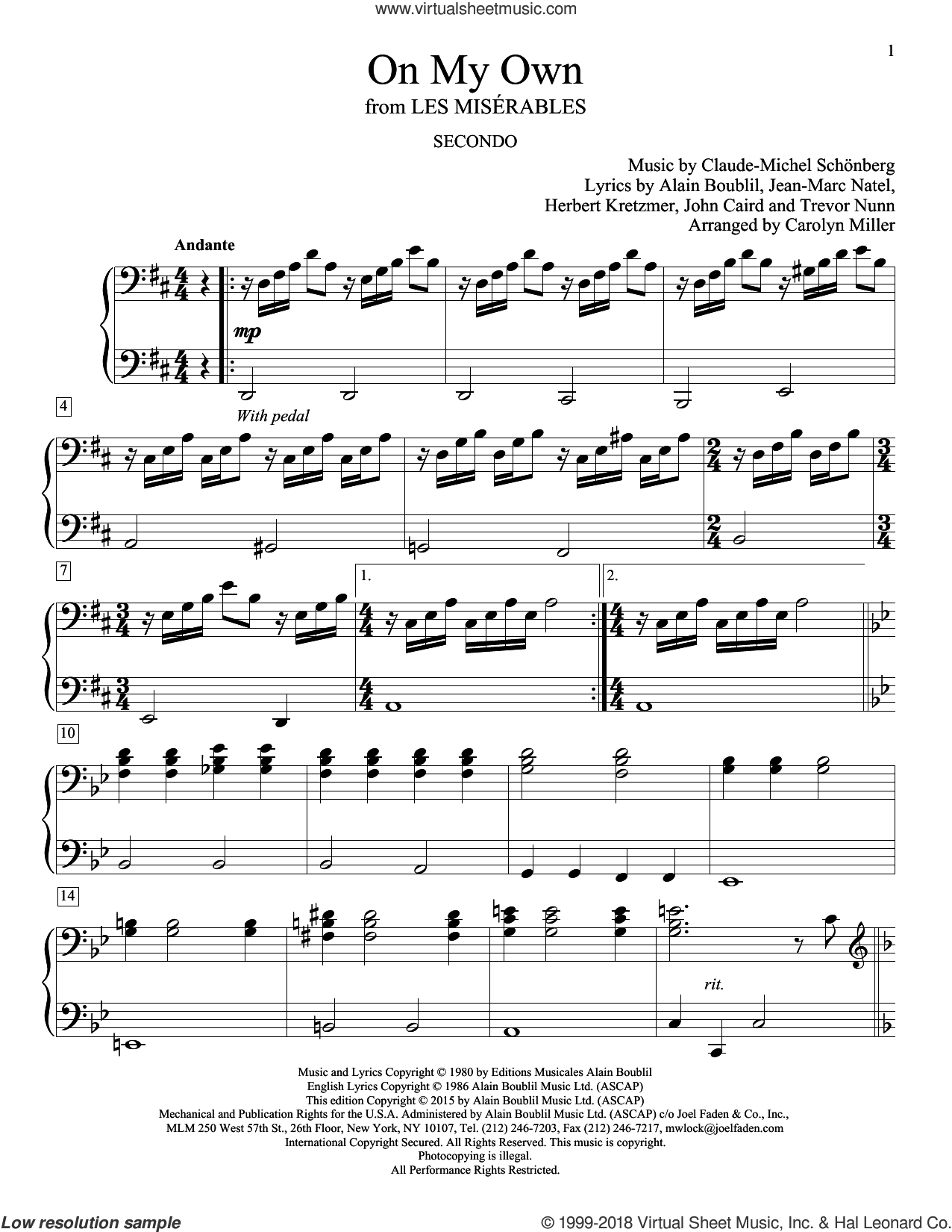 On My Own sheet music for piano four hands by Alain Boublil, Carolyn Miller and Claude-Michel Schonberg and Claude-Michel Schonberg, intermediate skill level