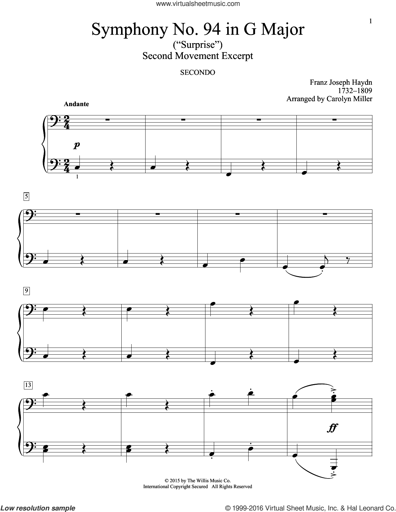 Symphony No. 94 In G Major (Surprise), Second Movement Excerpt sheet music for piano four hands by Franz Joseph Haydn and Carolyn Miller, classical score, intermediate