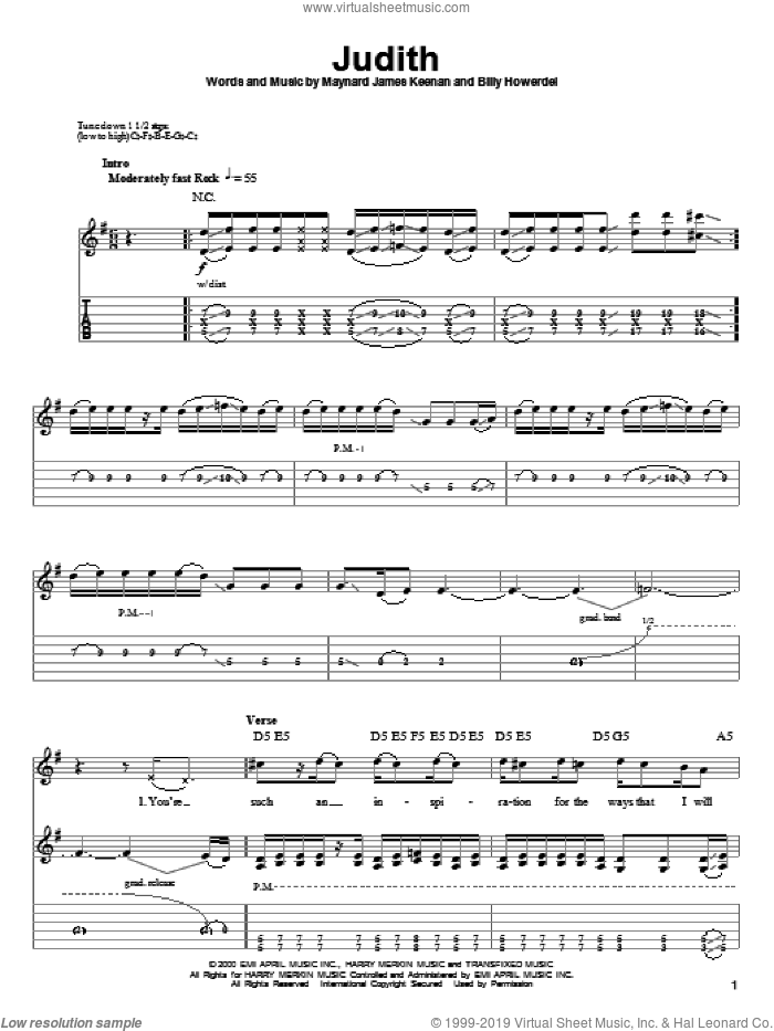 Judith sheet music for guitar (tablature, play-along) by Maynard James Keenan