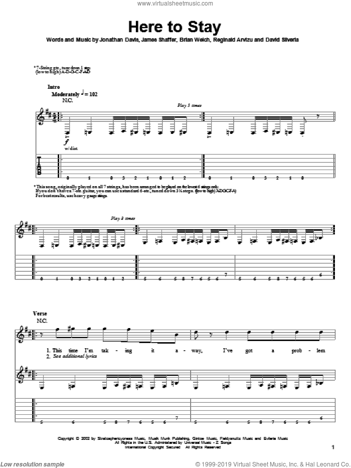 Here To Stay sheet music for guitar (tablature, play-along) by Reginald Arvizu