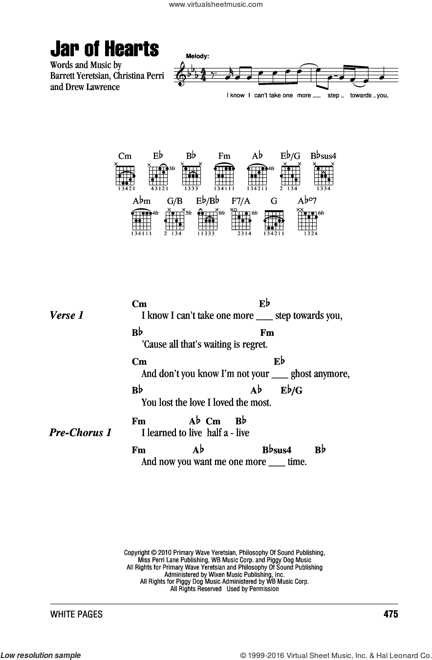 Jar Of Hearts sheet music for guitar (chords) by Christina Perri, Barrett Yeretsian and Drew Lawrence, intermediate skill level