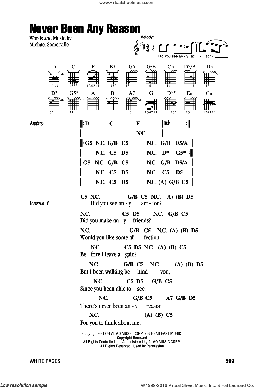 Never Been Any Reason sheet music for guitar (chords) by Michael Somerville. Score Image Preview.
