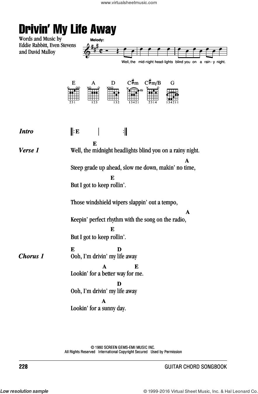 Drivin' My Life Away sheet music for guitar (chords) by Eddie Rabbitt, David Malloy and Even Stevens, intermediate skill level
