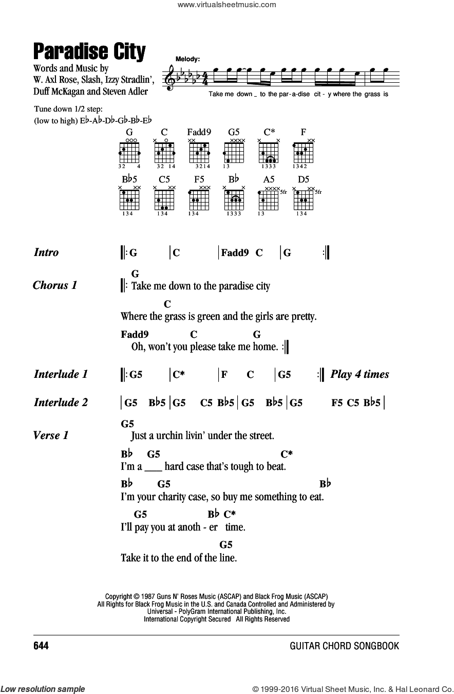 Roses Paradise City Sheet Music For Guitar Chords Pdf
