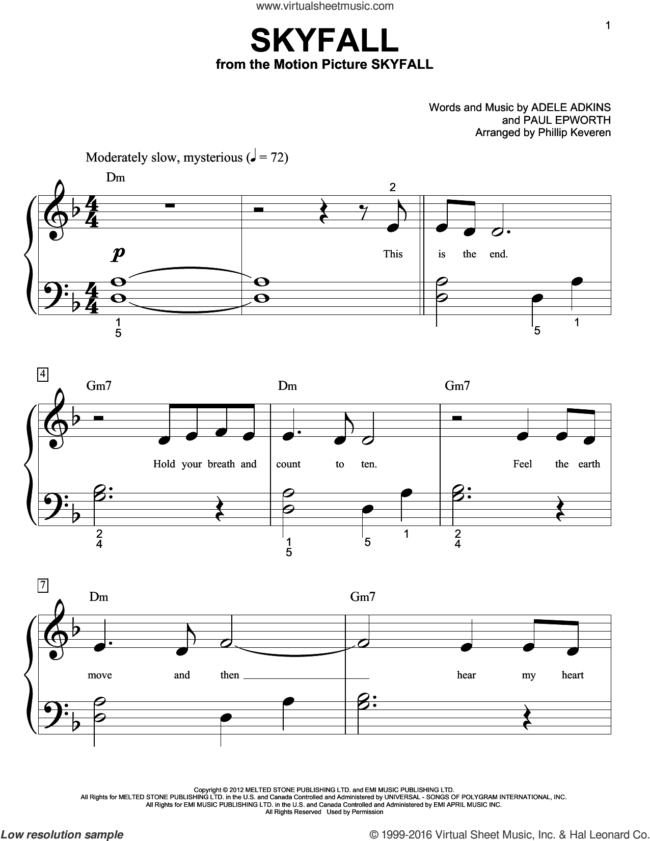 Skyfall sheet music for piano solo (big note book) by Paul Epworth, Phillip Keveren and Adele. Score Image Preview.