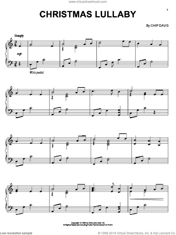 Christmas Lullaby sheet music for piano solo by Mannheim Steamroller and Chip Davis, intermediate skill level