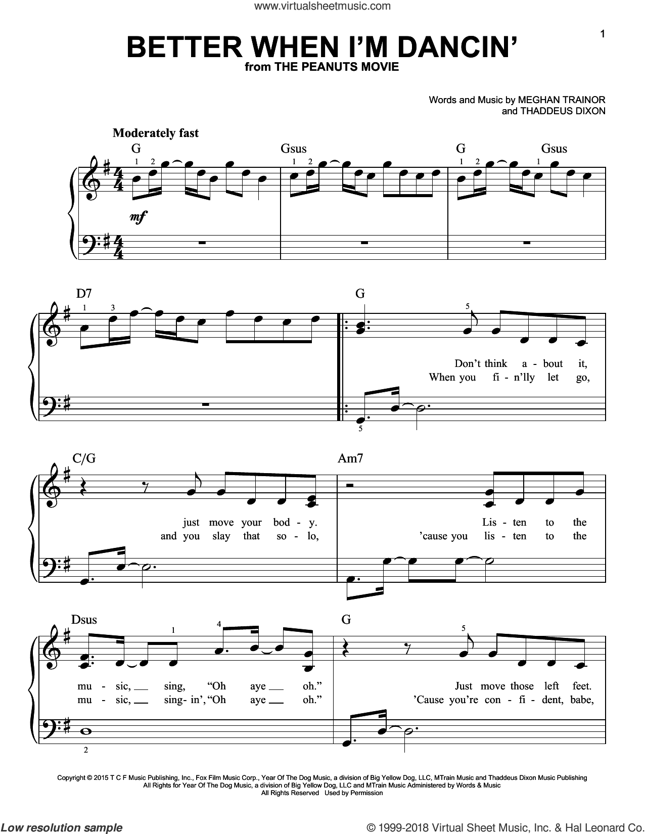 Better When I'm Dancin' sheet music for piano solo by Meghan Trainor and Thaddeus Dixon, beginner skill level