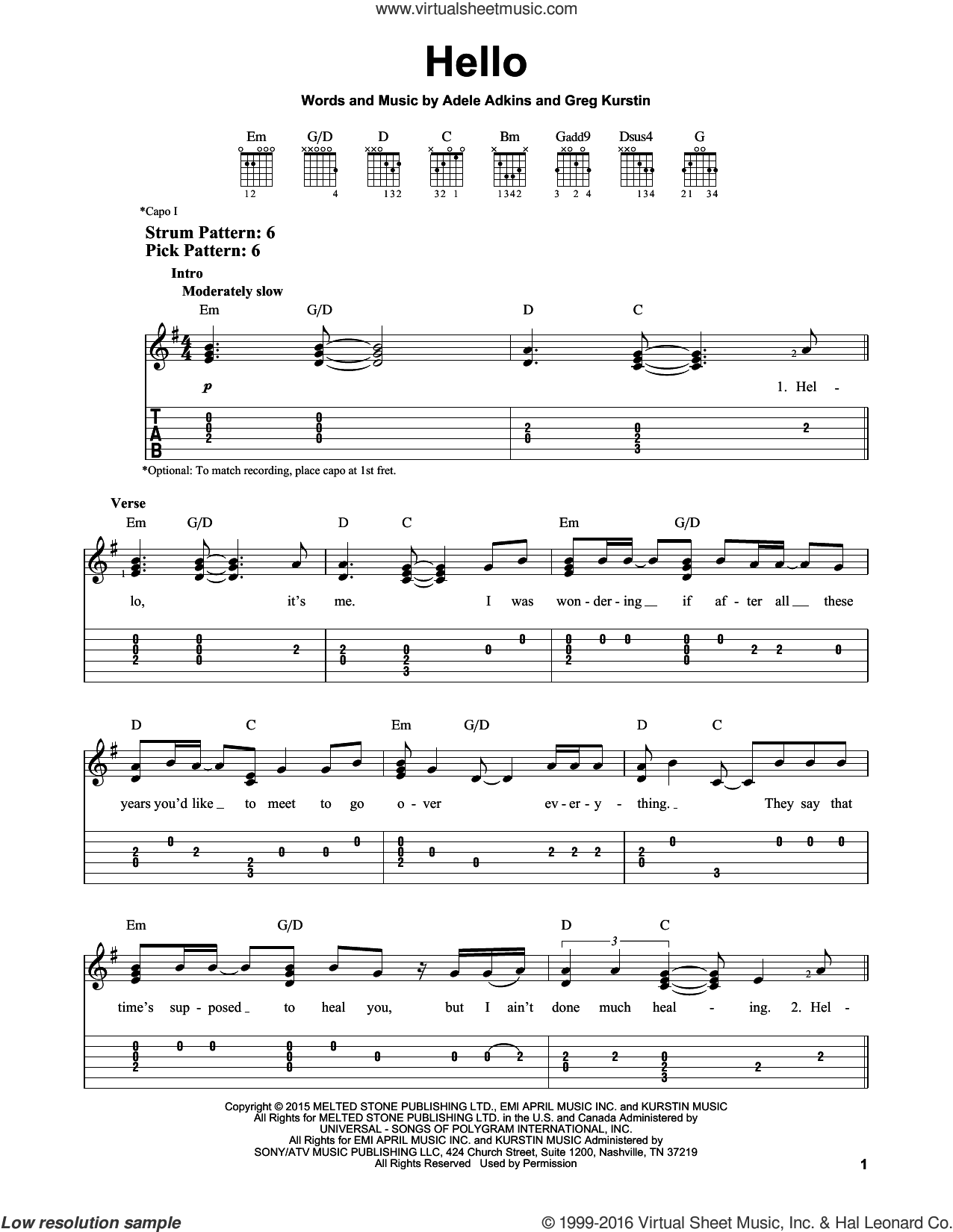 Hello sheet music for guitar solo (easy tablature) by Greg Kurstin, Adele and Adele Adkins. Score Image Preview.
