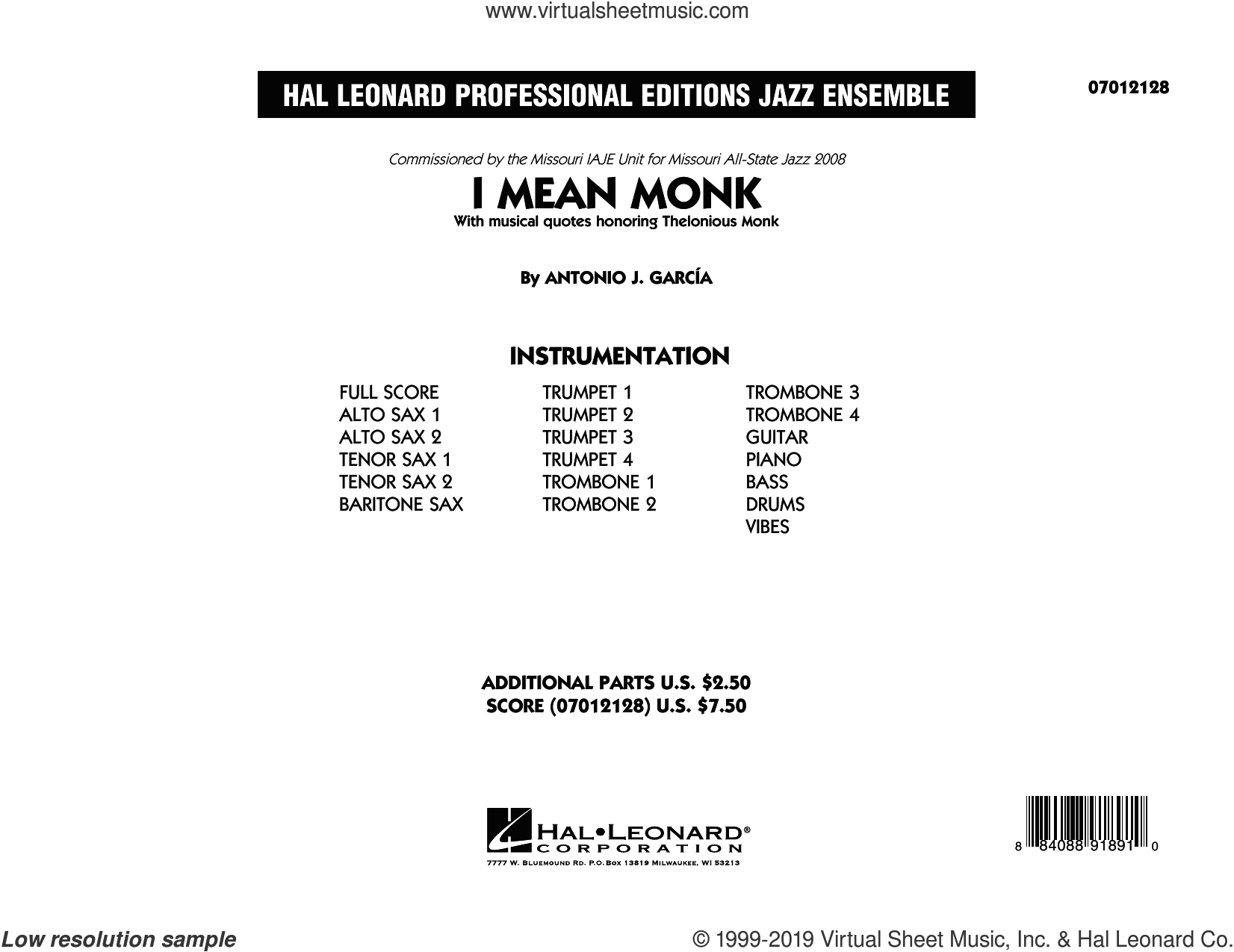 I Mean Monk (COMPLETE) sheet music for jazz band by Thelonious Monk, Antonio J. Garcia, Antonio J. Garcia and Antonio Garcia, intermediate skill level