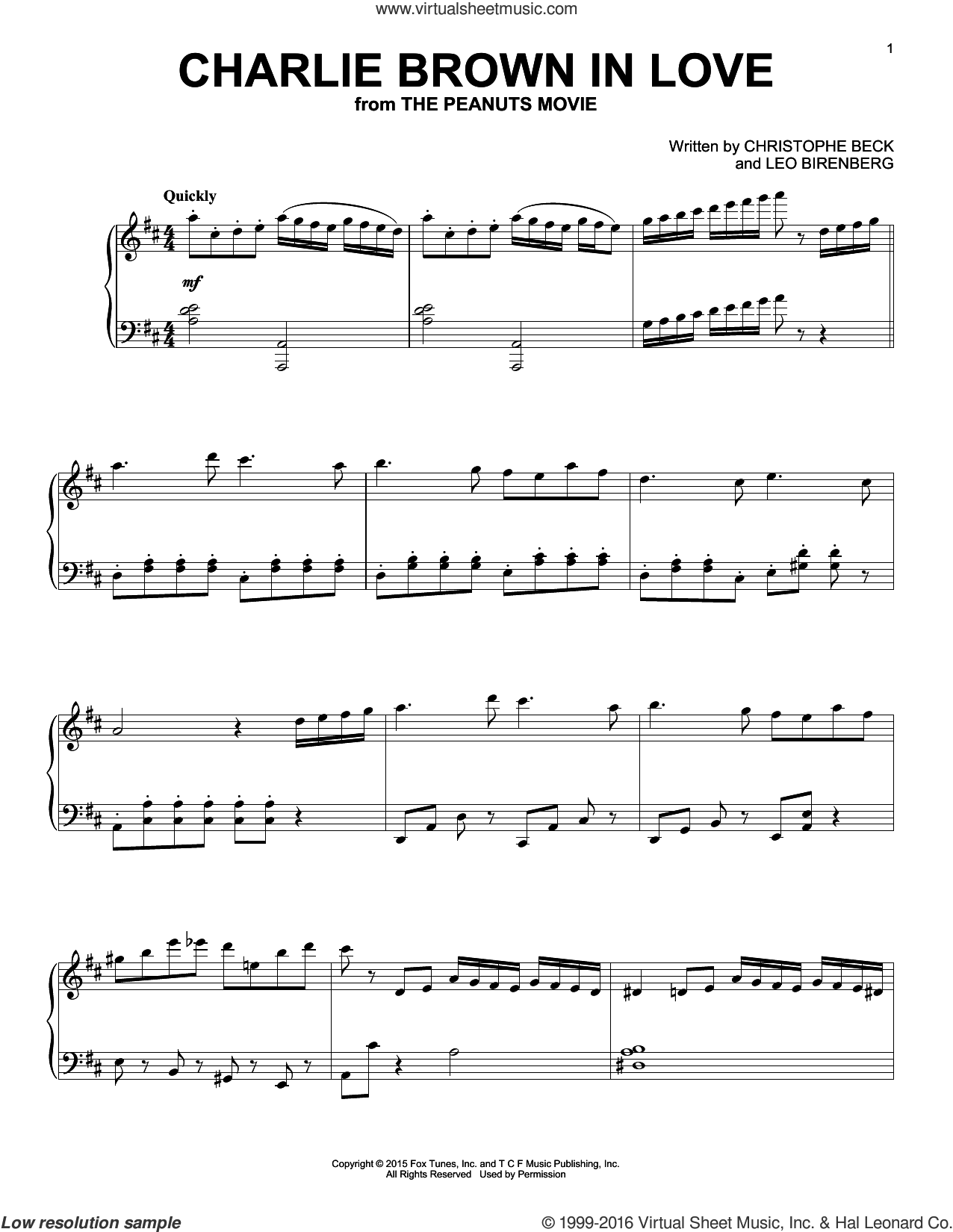 Charlie Brown In Love, (intermediate) sheet music for piano solo by Christophe Beck and Leo Birenberg, intermediate