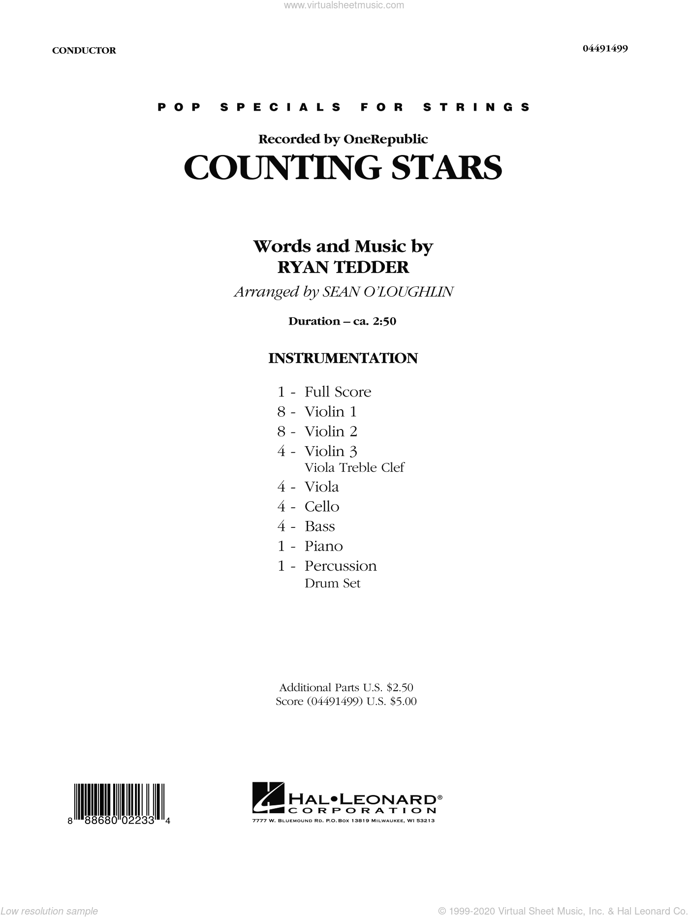 Counting Stars sheet music for orchestra (full score) by Sean O'Loughlin