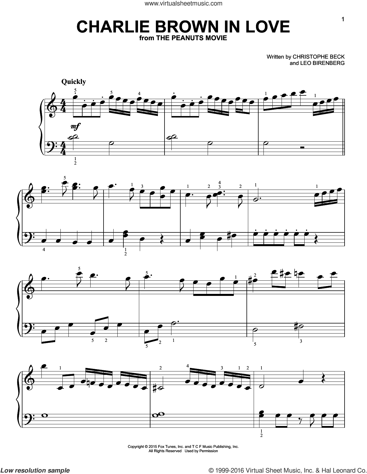 Charlie Brown In Love sheet music for piano solo by Christophe Beck and Leo Birenberg, easy skill level