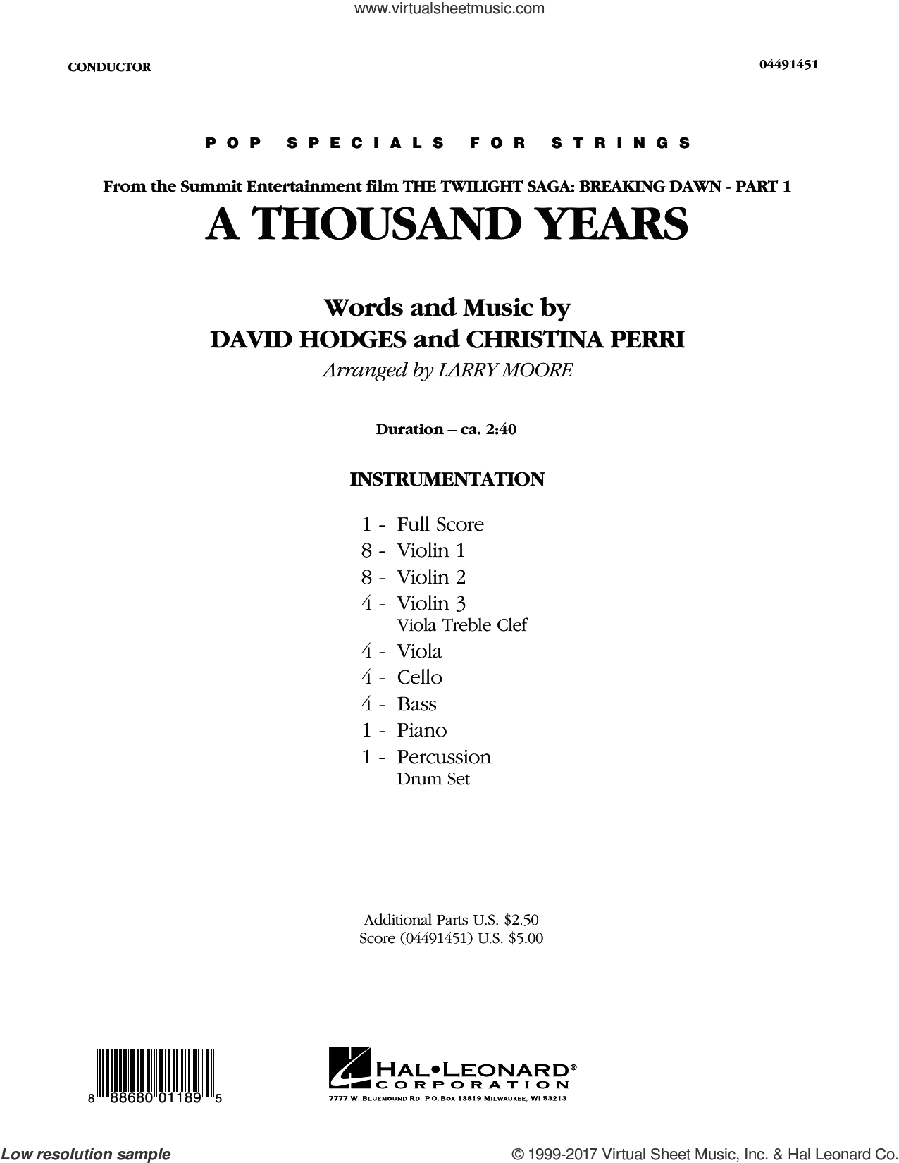A Thousand Years (COMPLETE) sheet music for orchestra by Larry Moore, Christina Perri and David Hodges, intermediate. Score Image Preview.