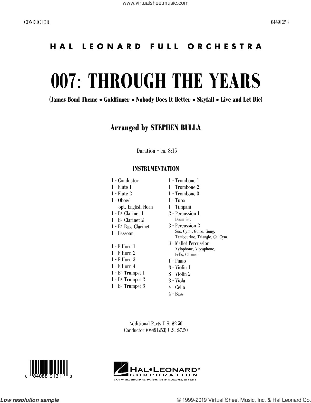 007: Through The Years (COMPLETE) sheet music for orchestra by Stephen Bulla, intermediate skill level