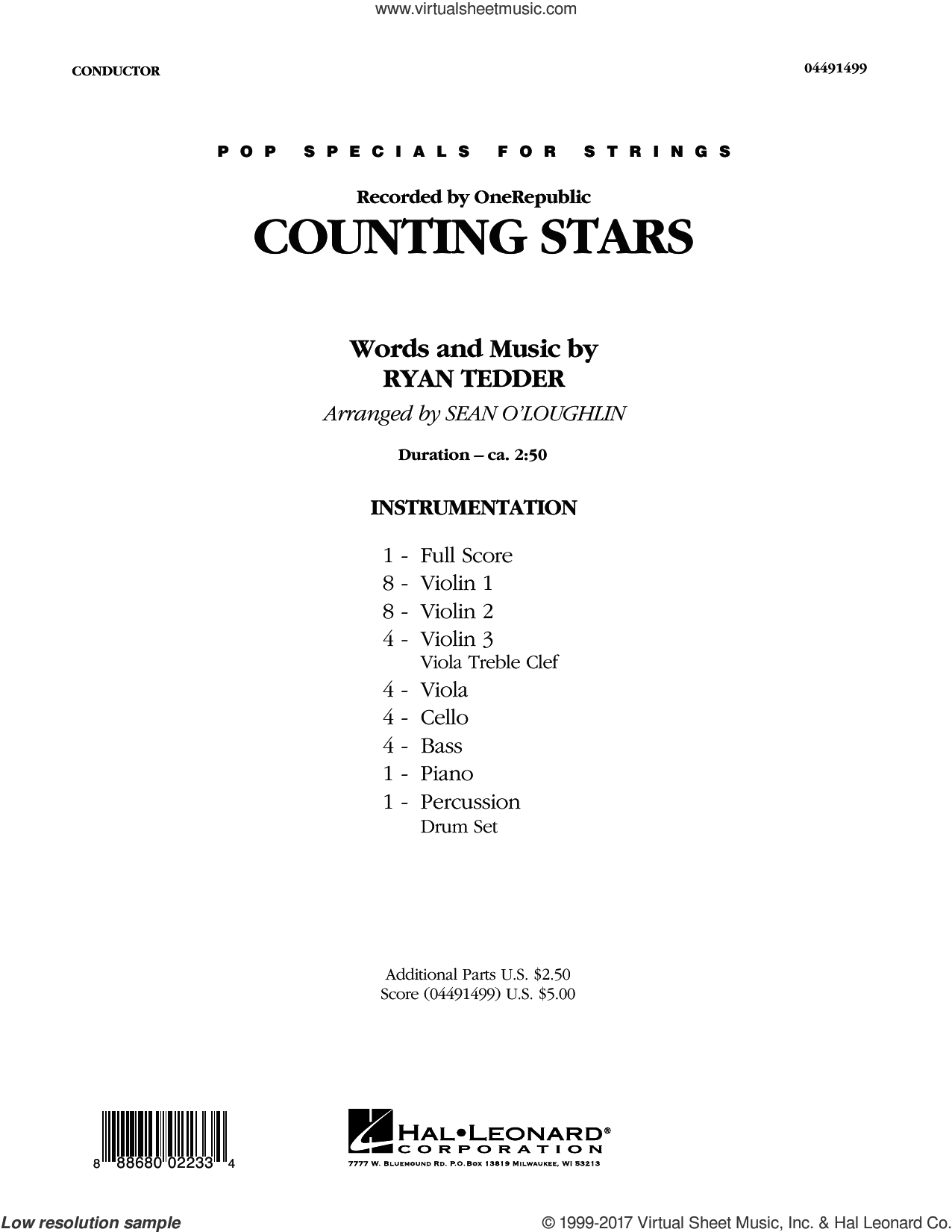 Onerepublic Counting Stars Sheet Music Complete Collection For