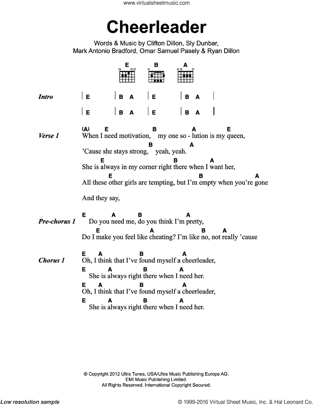 Cheerleader sheet music for guitar (chords) by Sly Dunbar, Clifton Dillon and Ryan Dillon. Score Image Preview.