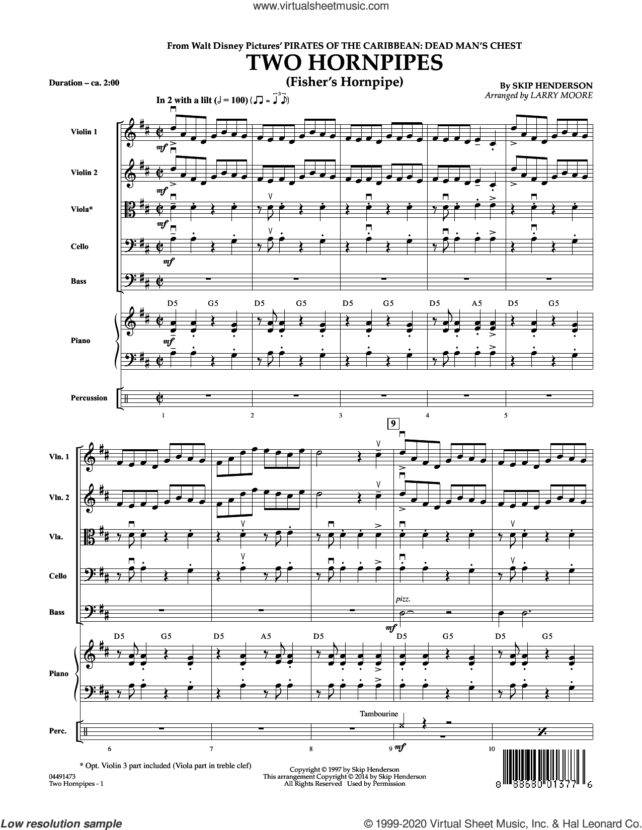 Two Hornpipes (COMPLETE) sheet music for orchestra by Larry Moore and Skip Henderson, intermediate skill level