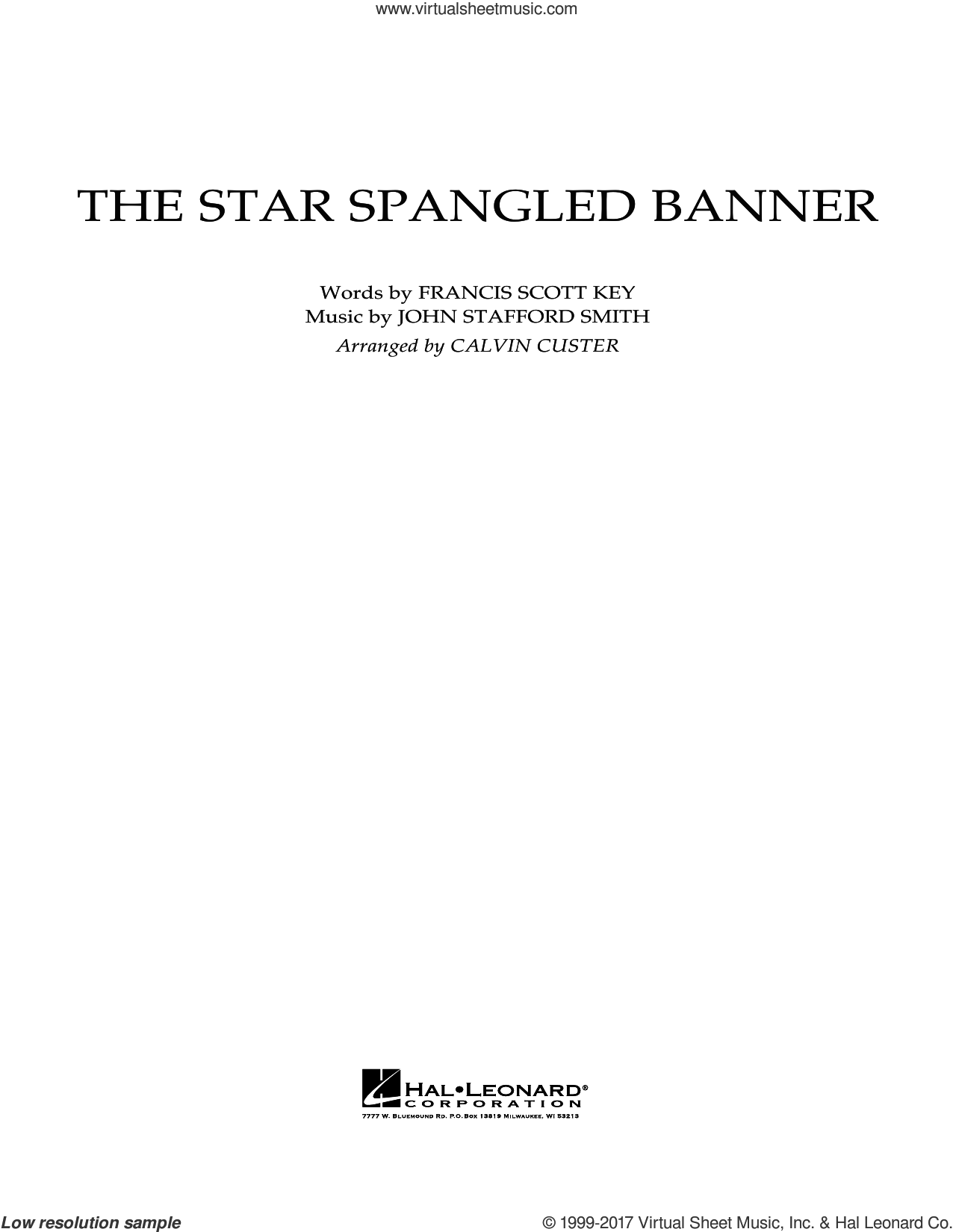 The Star Spangled Banner (COMPLETE) sheet music for full orchestra by Calvin Custer, Francis Scott Key and John Stafford Smith, intermediate skill level