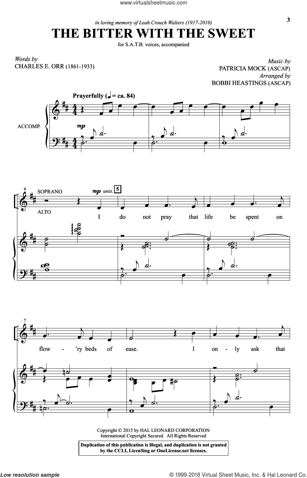 The Bitter With The Sweet sheet music for choir (SATB: soprano, alto, tenor, bass) by Patricia Mock, Bobbi Heastings, Charles Orr and Charles E. Orr, intermediate skill level