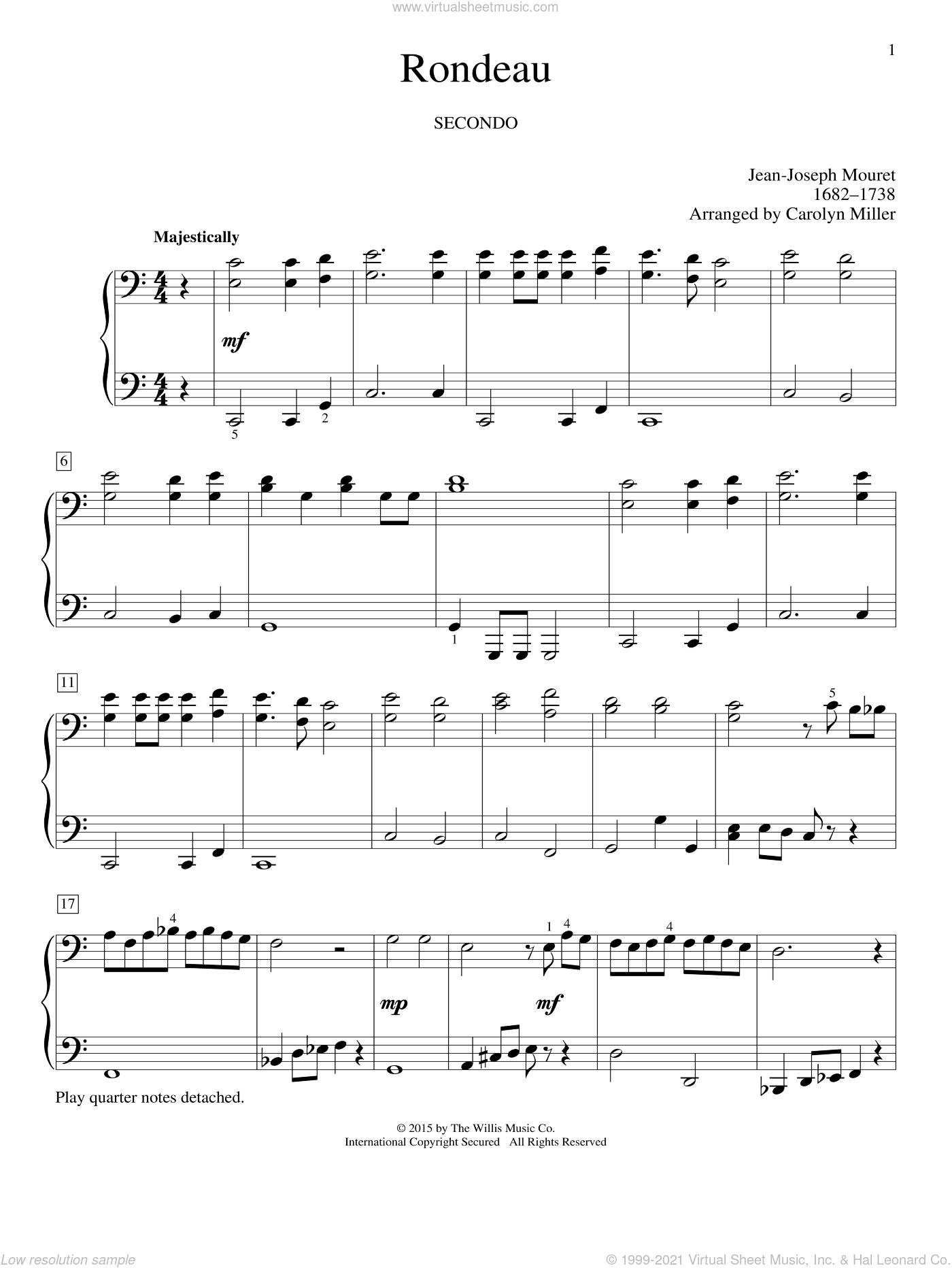 Rondeau sheet music for piano four hands (duets) by Carolyn Miller, Eric Baumgartner, Glenda Austin and Jean-Joseph Mouret. Score Image Preview.