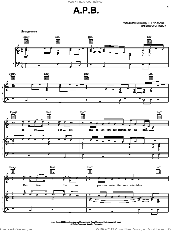 A.P.B. sheet music for voice, piano or guitar by Teena Marie and Doug Grigsby, intermediate skill level