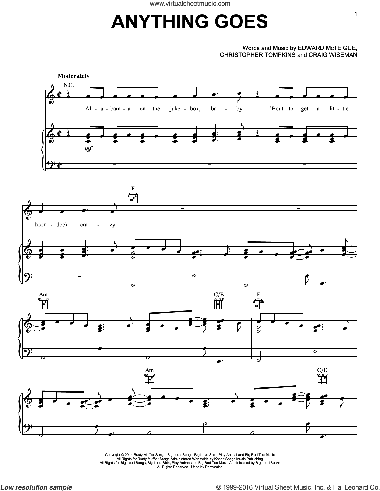 Anything Goes sheet music for voice, piano or guitar by Florida Georgia Line, Christopher Tompkins, Craig Wiseman and Edward McTeigue, intermediate