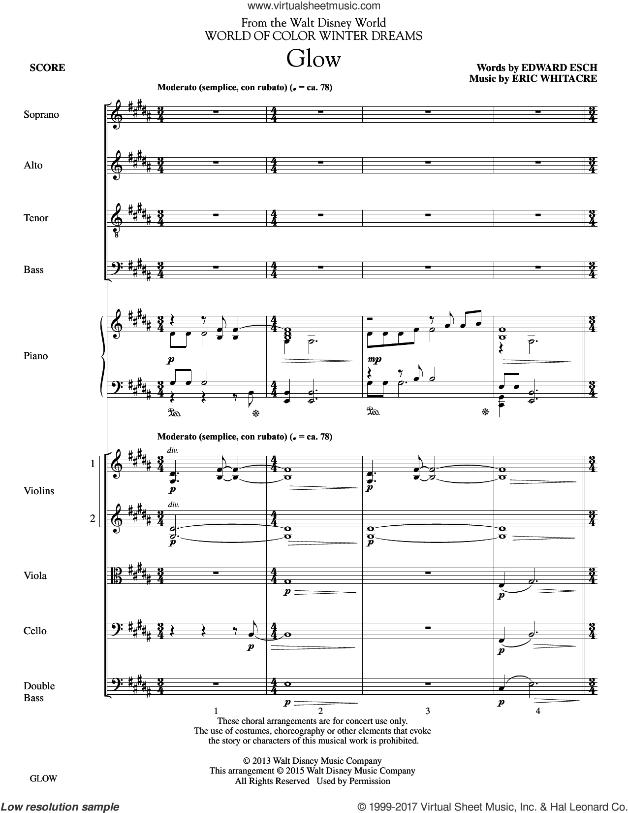 Glow - Optional String Parts (COMPLETE) sheet music for orchestra/band (Strings) by Eric Whitacre, intermediate skill level