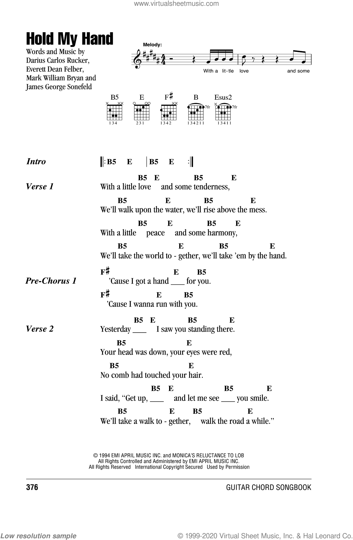 Blowfish - Hold My Hand sheet music for guitar (chords) [PDF]