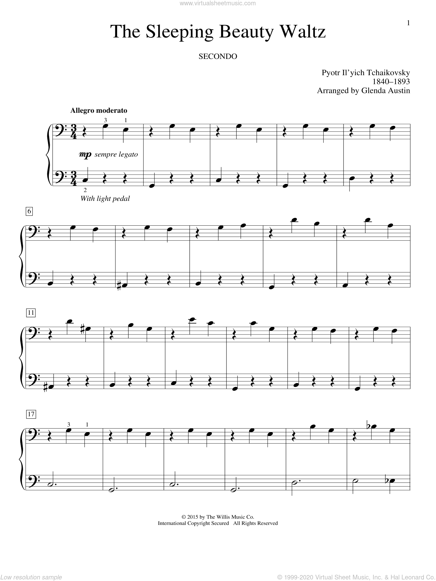 The Sleeping Beauty Waltz sheet music for piano four hands by Glenda Austin and Pyotr Ilyich Tchaikovsky, classical score, intermediate. Score Image Preview.