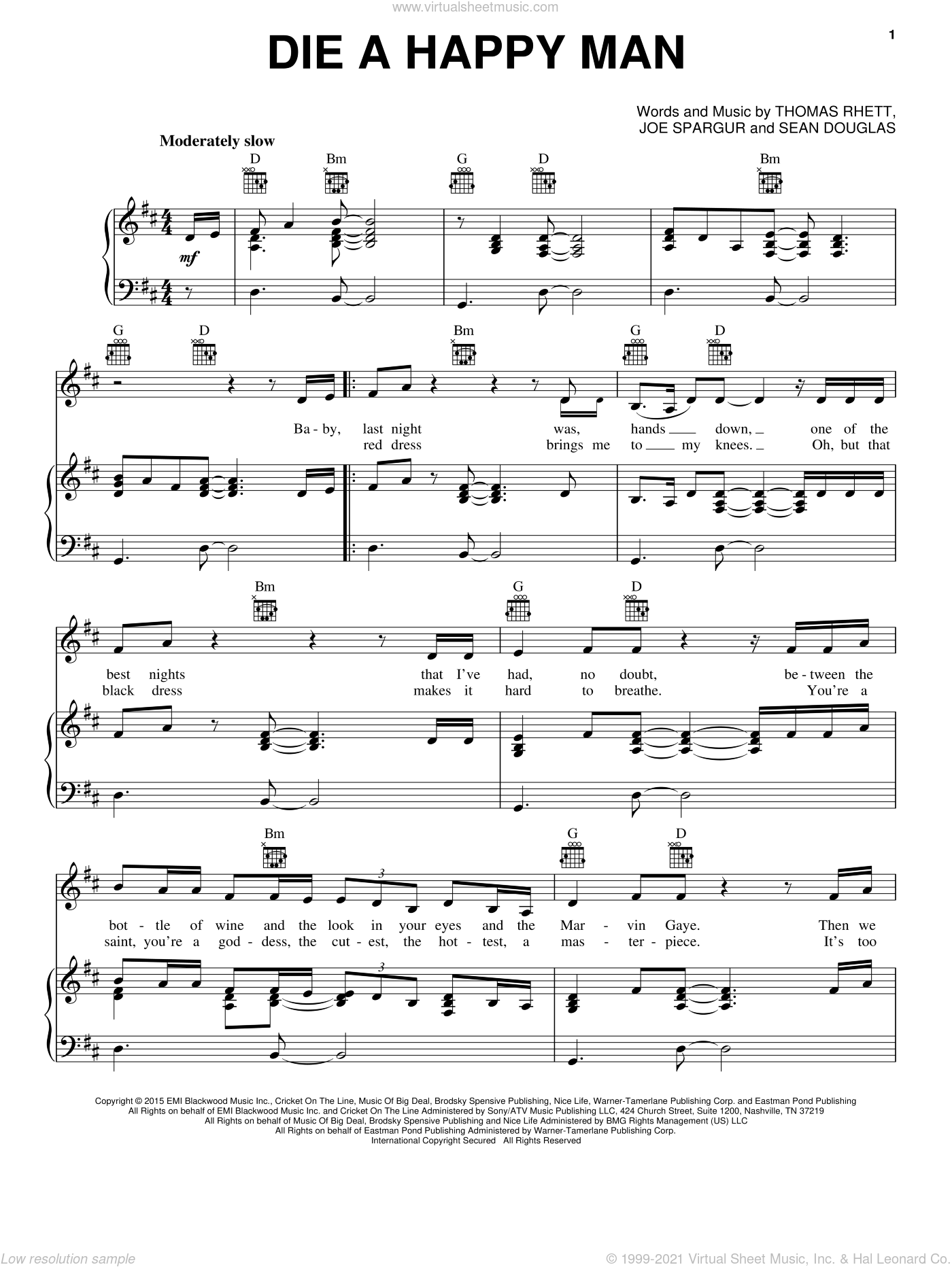Die A Happy Man sheet music for voice, piano or guitar by Thomas Rhett, Joe Spargur and Sean Douglas, intermediate