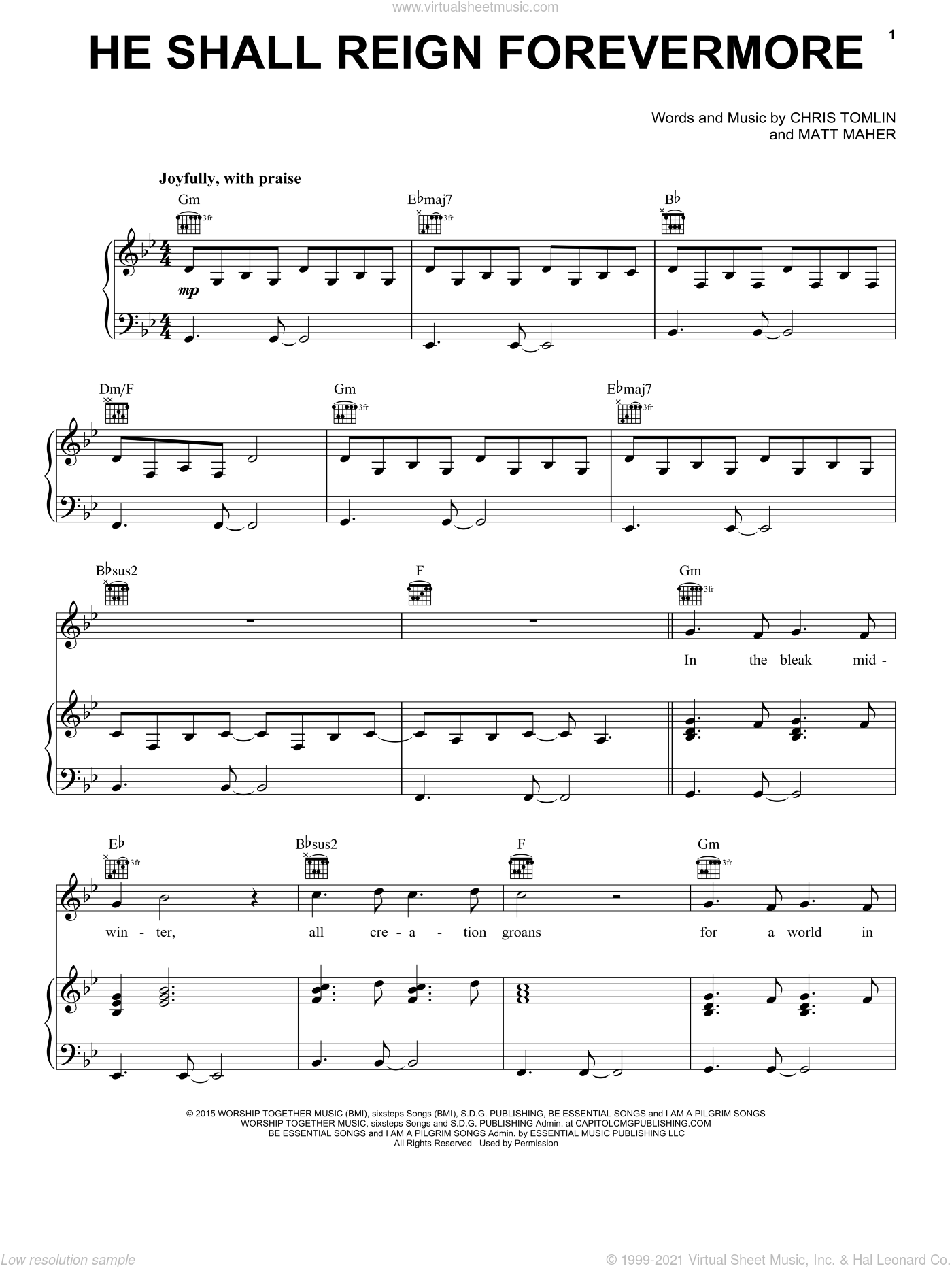He Shall Reign Forevermore sheet music for voice, piano or guitar by Matt Maher and Chris Tomlin. Score Image Preview.