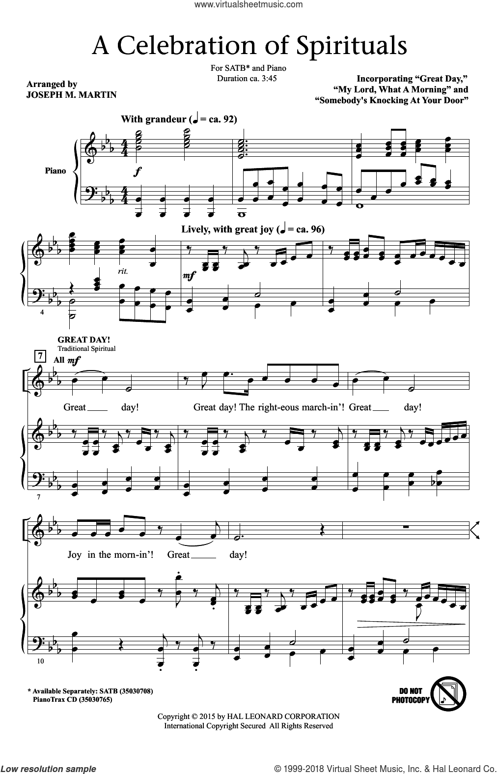 A Celebration Of Spirituals sheet music for choir (SATB) by Traditional Spirituals and Joseph M. Martin. Score Image Preview.