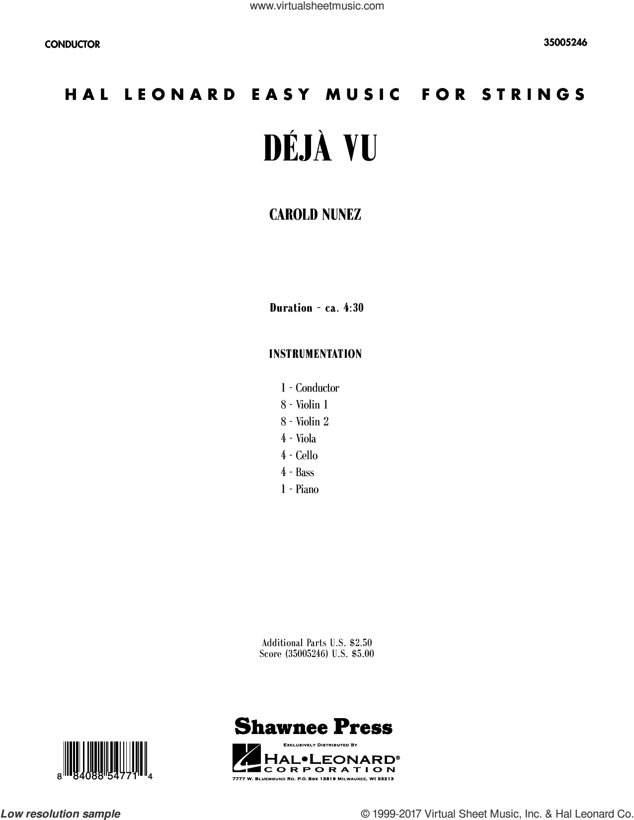 Deja Vu (COMPLETE) sheet music for orchestra by Carold Nunez, intermediate orchestra. Score Image Preview.