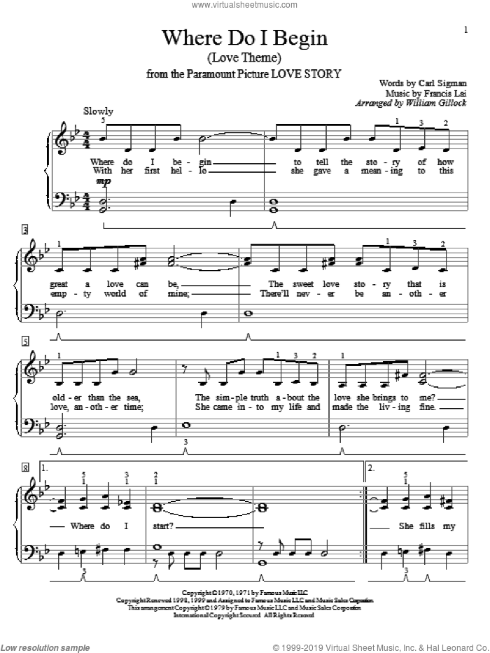 Where Do I Begin (Love Theme) sheet music for piano solo (elementary) by Carl Sigman, William Gillock, Andy Williams and Francis Lai, beginner piano (elementary). Score Image Preview.