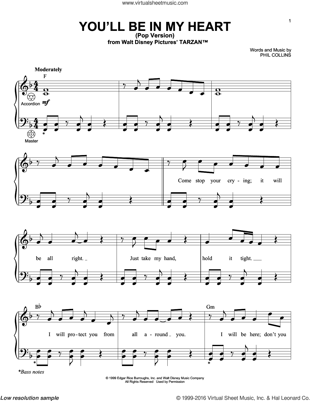 You'll Be In My Heart (Pop Version) sheet music for accordion by Phil Collins, intermediate skill level
