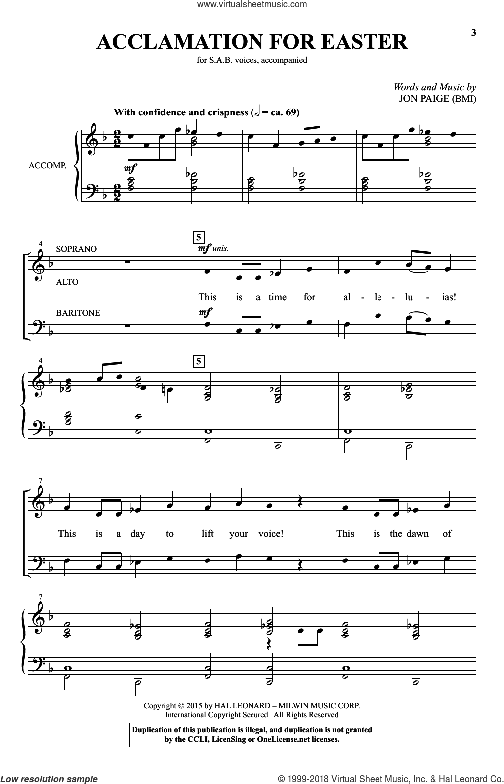 Acclamation For Easter sheet music for choir (SAB) by Jon Paige. Score Image Preview.