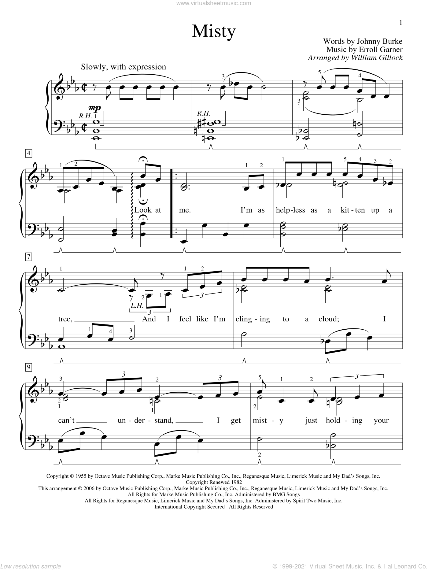 Misty sheet music for piano solo (elementary) by William Gillock, Johnny Mathis, Erroll Garner and John Burke, beginner piano (elementary)