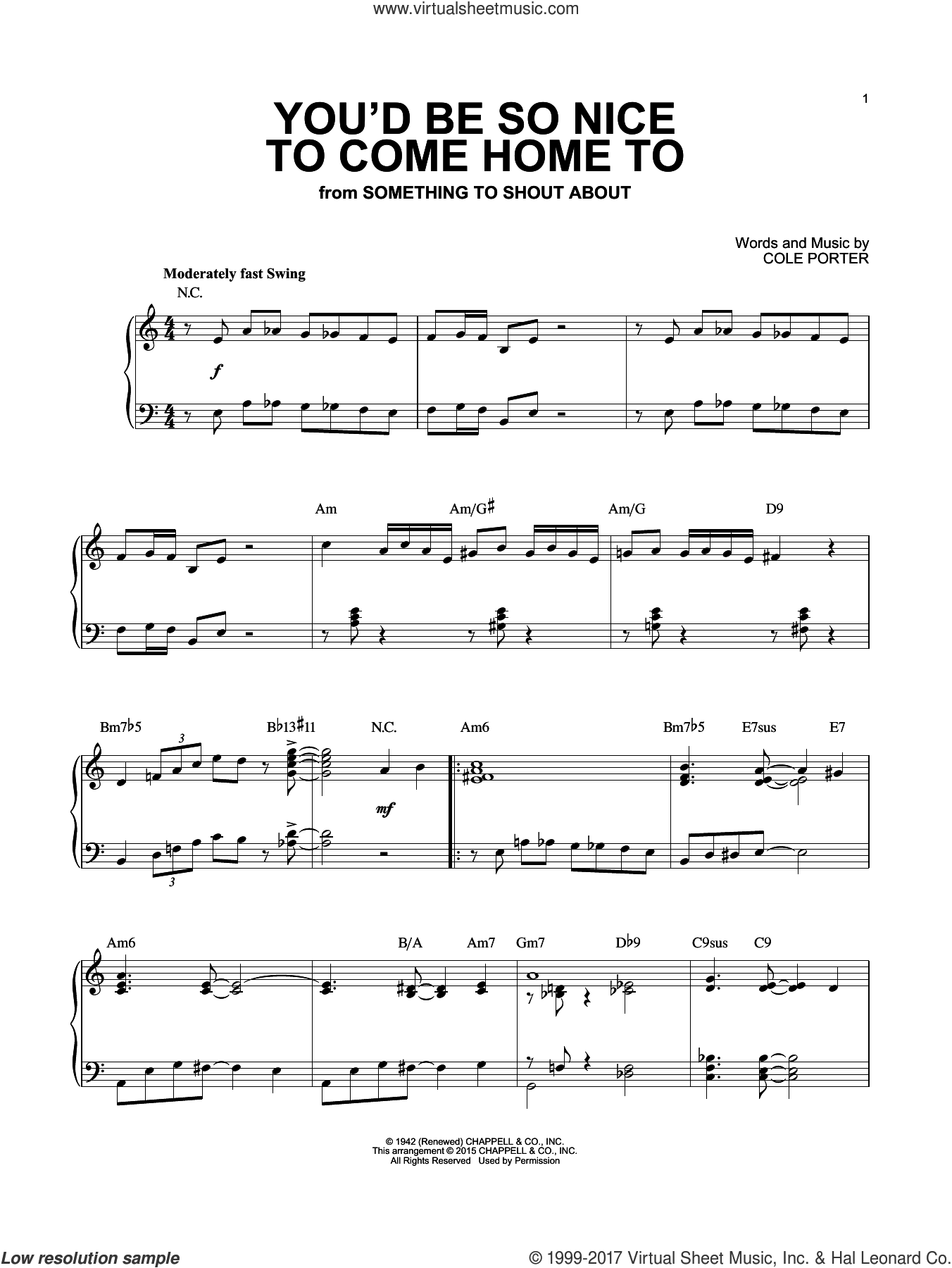 You'd Be So Nice To Come Home To [Jazz version] (arr. Brent Edstrom) sheet music for piano solo by Cole Porter, intermediate skill level