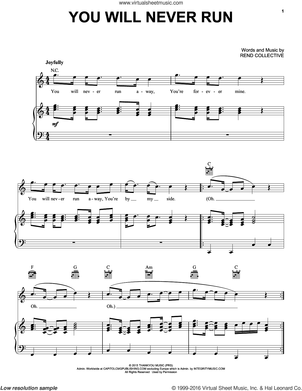 You Will Never Run sheet music for voice, piano or guitar by Rend Collective. Score Image Preview.