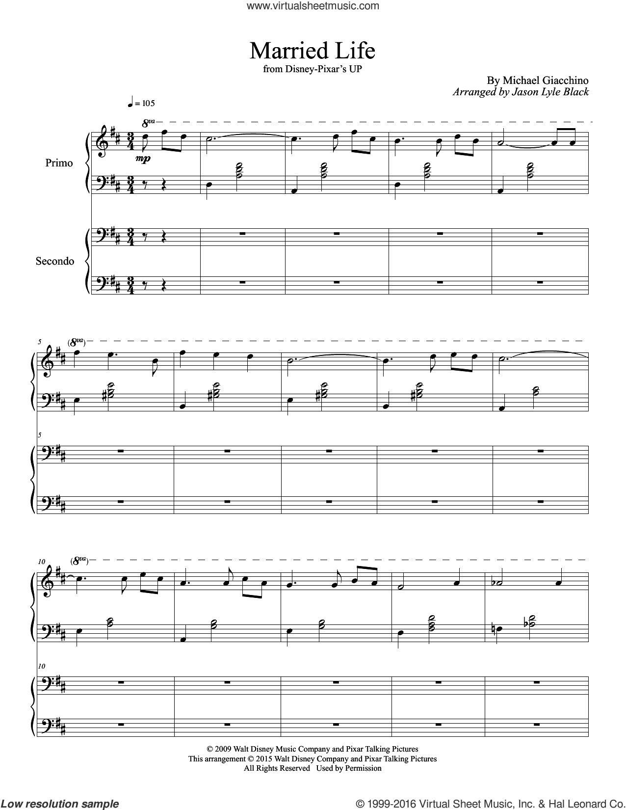 Married Life sheet music for piano four hands by Michael Giacchino and Jason Lyle Black, intermediate skill level