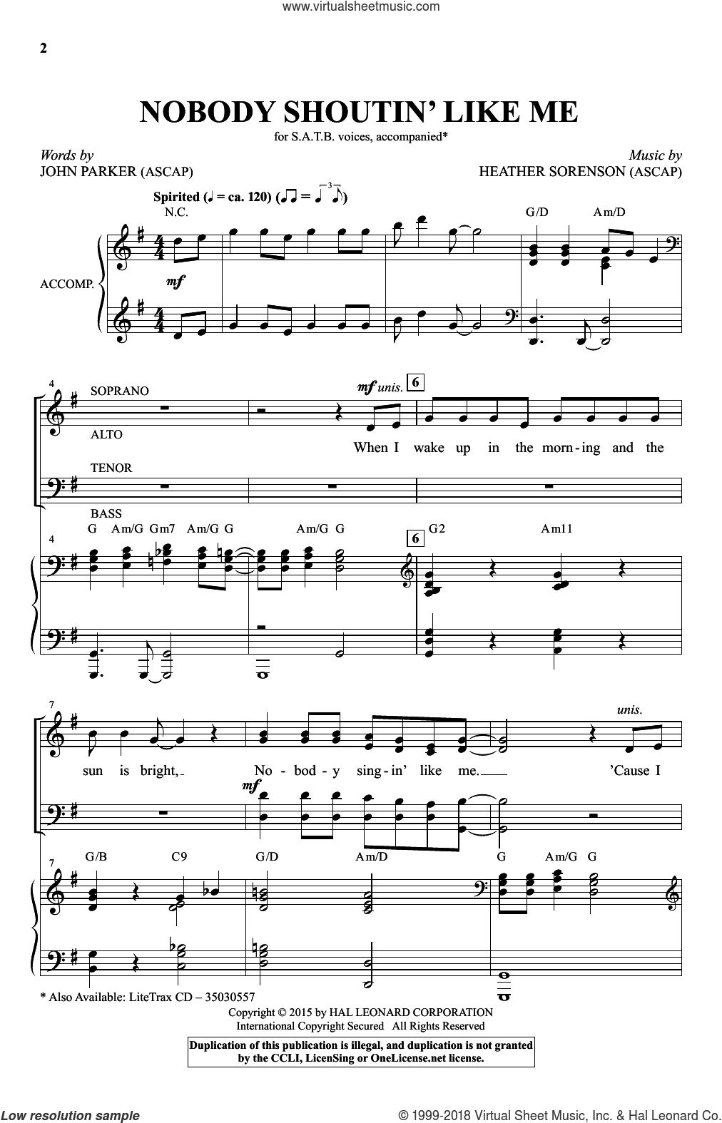 Nobody Shoutin' Like Me sheet music for choir (SATB) by John Parker and Heather Sorenson. Score Image Preview.